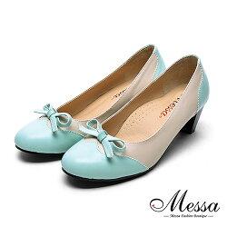 【Messa米莎專櫃女鞋】MIT可愛彩帶異材質拼接內真皮高跟鞋-藍綠色