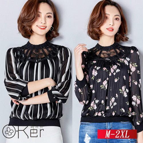 春裝新款寬鬆印花雪紡衫M-2XLO-Ker歐珂兒132709-C