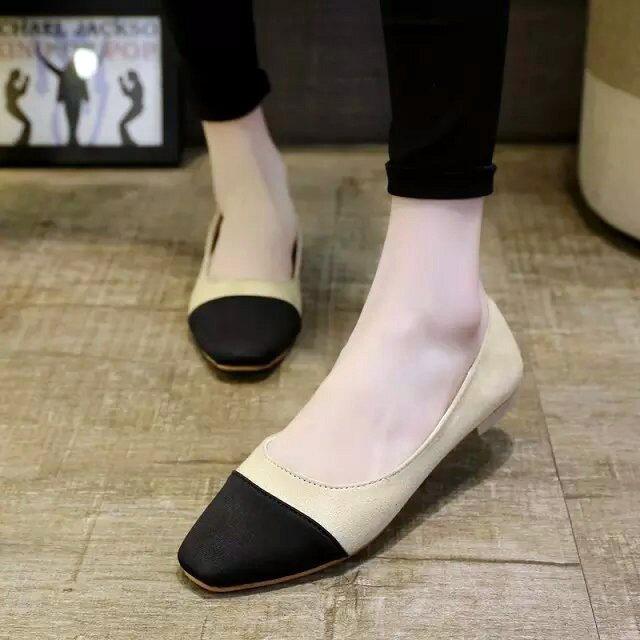 2016 方頭單鞋女平底平跟小香鞋頭配色淺口絨面低跟加大尺寸女鞋