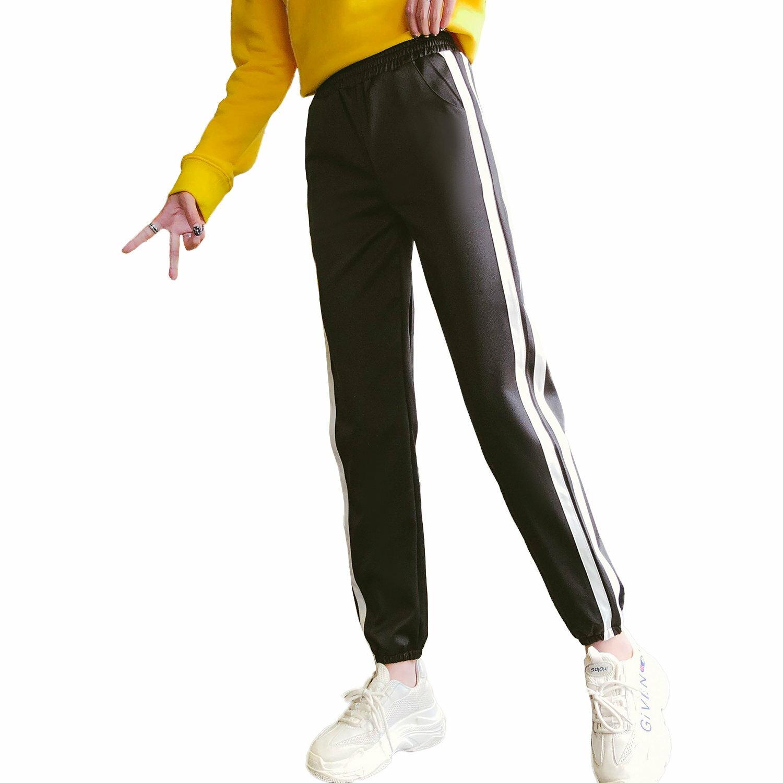 休閒褲--時髦舒適鬆緊撞色條紋收口顯瘦絲滑運動休閒長褲(黑.紅XL-5L)-P139眼圈熊中大尺碼 0