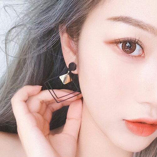 PS Mall 歐美個性誇張耳環 磨砂方形雙層幾何長款耳墜 韓國氣質耳飾【G096】 3