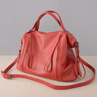 肩背包真皮手提包-大容量純色荔枝紋牛皮女包包2色73ut12【獨家進口】【米蘭精品】 1