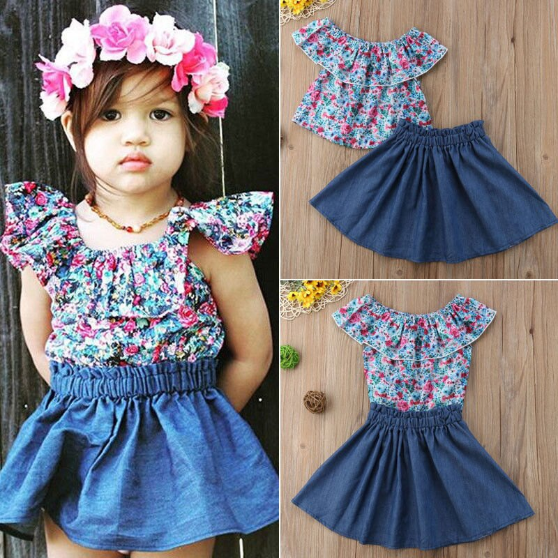 5db15b433b Toddler Kids Baby Girls Outfits Clothes T-shirt Tops+Tutu Dress Skirt 2PCS  Sets
