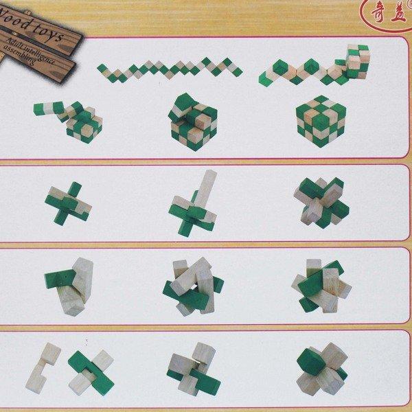 益智動腦拆卸魯班鎖 孔明鎖 木製(4款入) / 一盒4款入(促199) 智力解鎖拆裝玩具-AA6541 1
