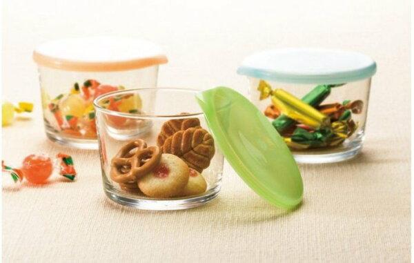 現貨!日本哨子玻璃保鮮罐/收納保存盒(3入)~附三色上蓋‧日本製