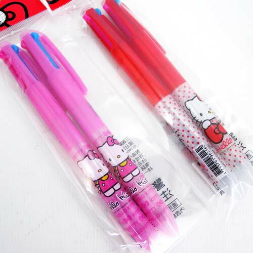 【真愛日本】15061800022 三色自動原子筆二入-紅粉 三麗鷗 Hello Kitty 凱蒂貓 文具 書寫 正品 限量