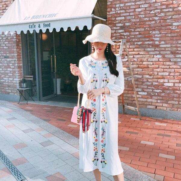 PS Mall  浪漫花朵刺繡連身裙 洋裝【T1492】 0