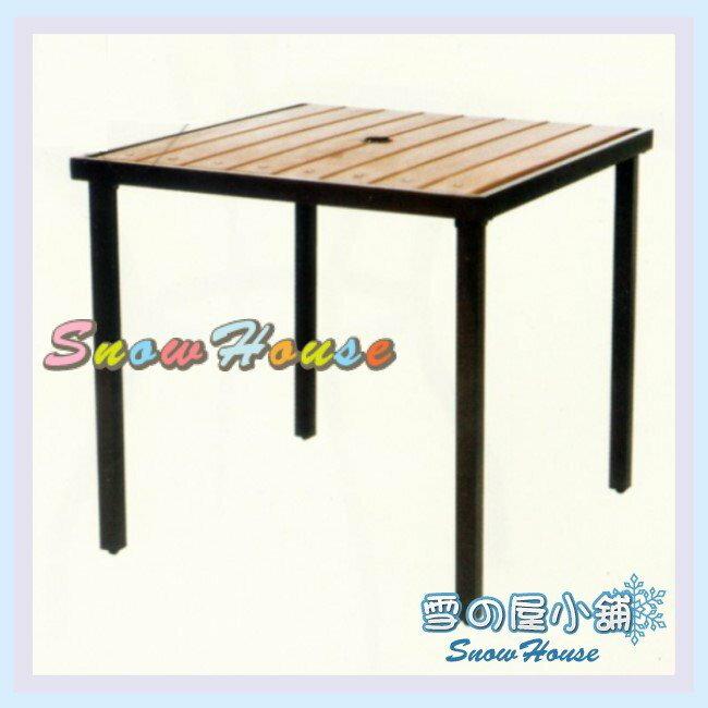 ╭☆雪之屋小舖☆╯S41198 P35鐵製塑木方桌/造型餐桌/休閒桌/咖啡桌/置物桌/戶外桌/小方桌/塑木桌
