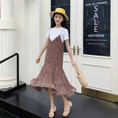 吊帶裙雪紡連衣裙-優雅碎花中長版魚尾女背帶裙子2色73rx45【獨家進口】【米蘭精品】