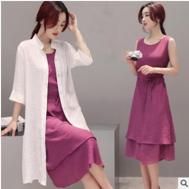 ~鳶尾紫服飾館~二件 春夏 女裝大碼寬鬆顯瘦套裝裙子兩件套 長版 修身顯瘦洋裝 洋裝大呎碼