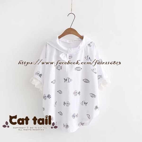 《貓尾巴》TS-0898日系滿版小魚印花短袖T恤(森林系日系棉麻文青清新)