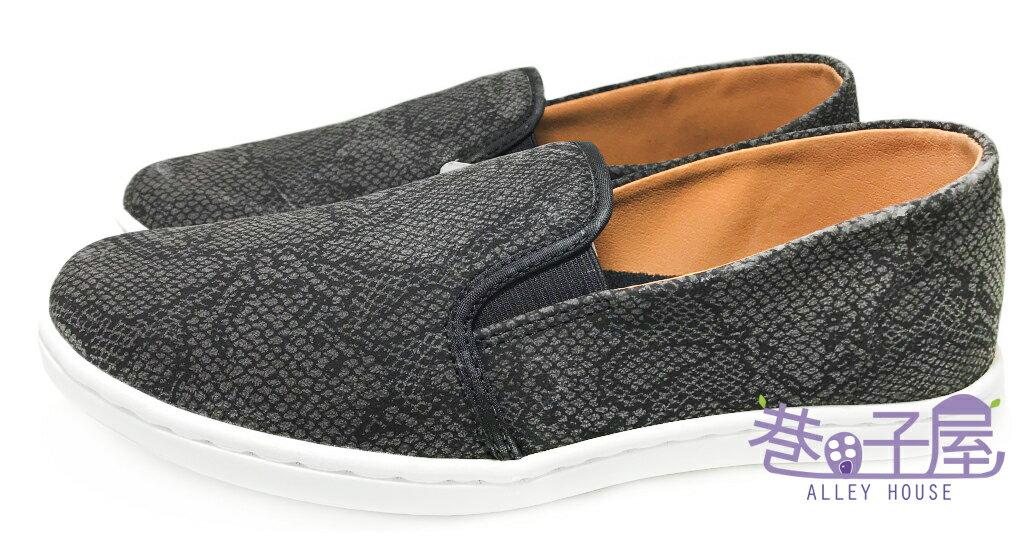 【巷子屋】吉梵范倫鐵諾 男款蛇紋懶人運動休閒鞋 [9039] 黑灰 MIT台灣製造 超值價$198