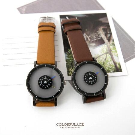 手錶 嚴選獨特造型三色指針皮革錶帶手錶 標靶概念設計 中性款式 柒彩年代【NE1679】單支 0