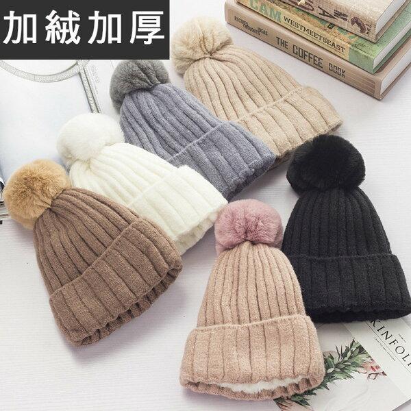 BOBI:毛帽針織保暖毛線帽針織帽加絨加厚【YJA046】BOBI1221