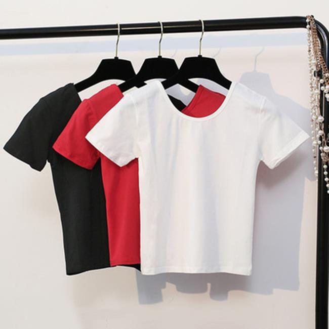 50%OFF SHOP【S021957C】春季新款短款短袖T恤女修身漏肚臍體恤裝純色緊身高腰上衣