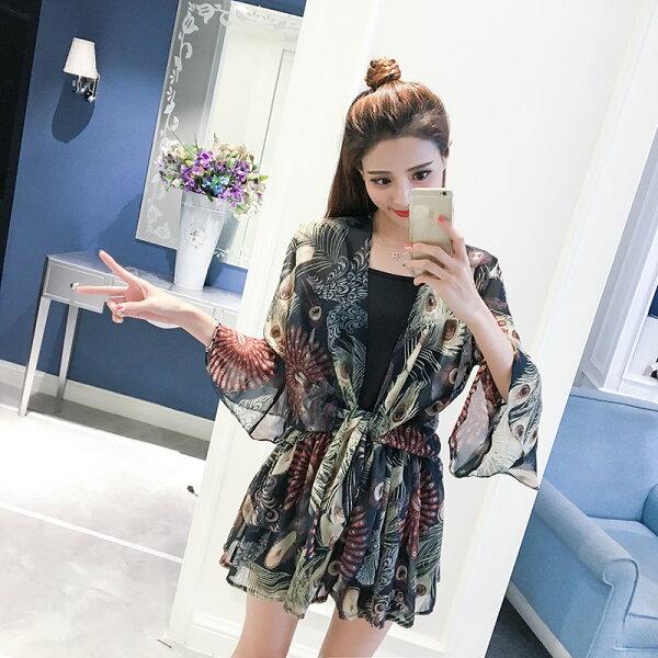 FINDSENSE服飾:FINDSENSEG5韓國時尚新款女裝名媛套裝碎花喇叭袖雪紡衫吊帶短褲三件套