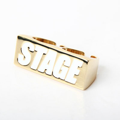 STAGE GOLDEN BOX LOGO 2FINGERS RING 白/紅 字體 0