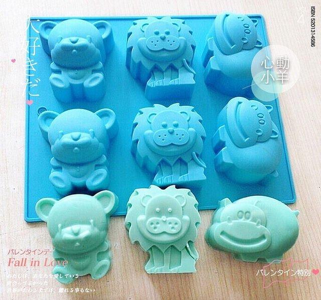 心動小羊^^可愛動物,獅子,熊,河馬矽膠模具 果凍 巧克力模具 布丁模具 手工皂模具 製冰盒 餅乾模具 烘焙模具,