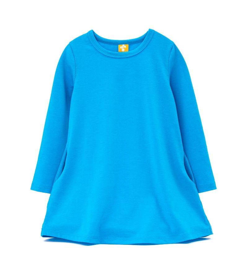 ☆傑媽童裝☆EPK小女生素色長版上衣/洋裝-藍色【87929-2】
