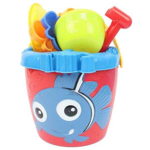 海灘工具桶7件式小丑魚沙灘工具桶339一桶入{定160}小孩堆砂工具玩沙模具~創NO.339