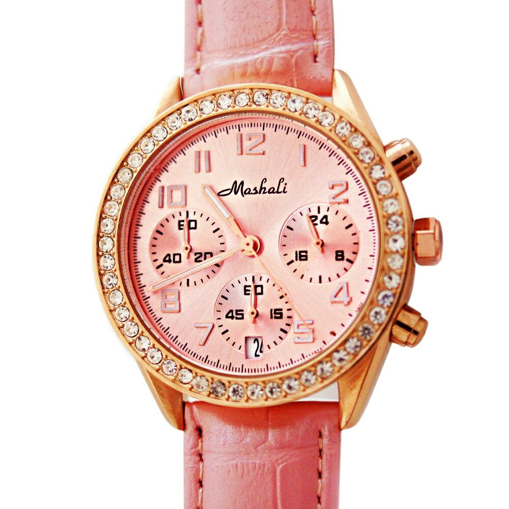 Mashali 88091 時尚滾鑽錶盤多功能真三眼皮帶錶 1
