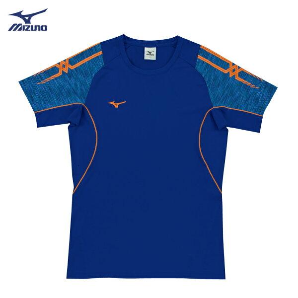 V2TA7G1922(法國藍X深藍)男女通款吸汗快乾、SlimFIT合身版型彈性排球上衣(【美津濃MIZUNO】
