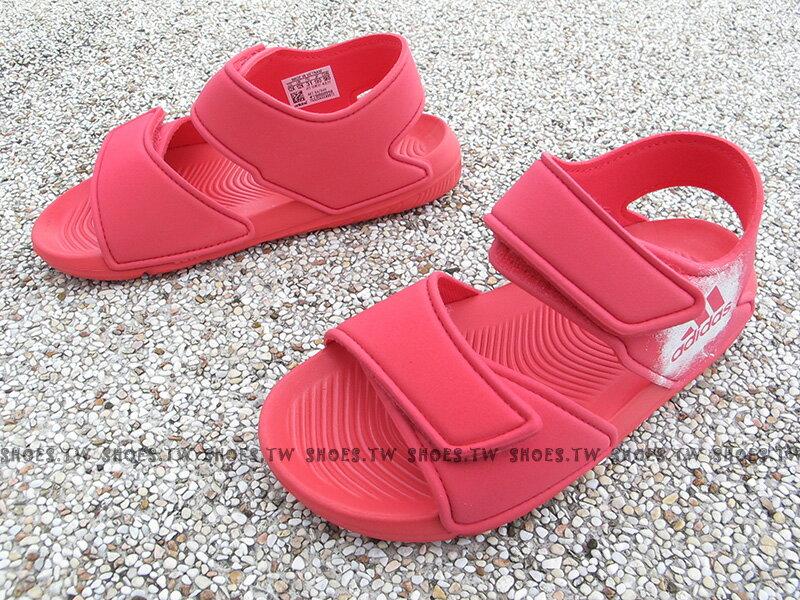 《下殺6折》Shoestw【BA7849】ADIDAS Alta Swim C 童鞋 涼鞋 桃白 雙黏帶 中童