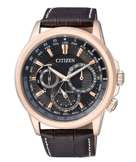 清水鐘錶 CITIZEN 星辰 BU2023-12E Eco-Drive 光動能日曆手錶 玫瑰金x褐 44mm
