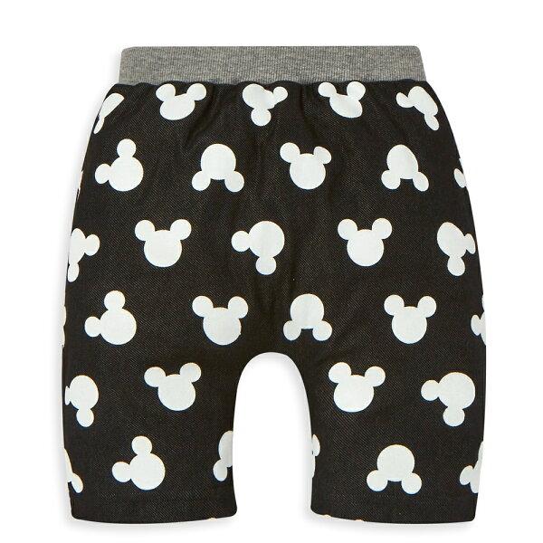 Disney米奇系列活潑派對哈倫短褲-黑色