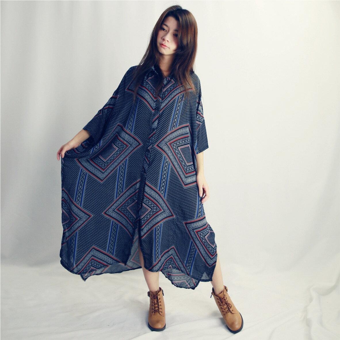 幾何七分袖襯衫洋裝-布朵朵