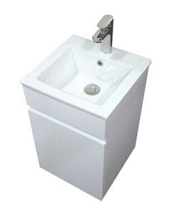 營鏹衛浴:小坪數適用洗臉盆+浴櫃(吊櫃)+水龍頭+全部配件寬41x深41x高62cm100%防水PVC發泡板鋼琴烤漆