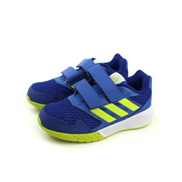 adidas AltaRun CF K 慢跑鞋 鞋 兩個魔鬼氈 避震 透氣 藍色 中童 S
