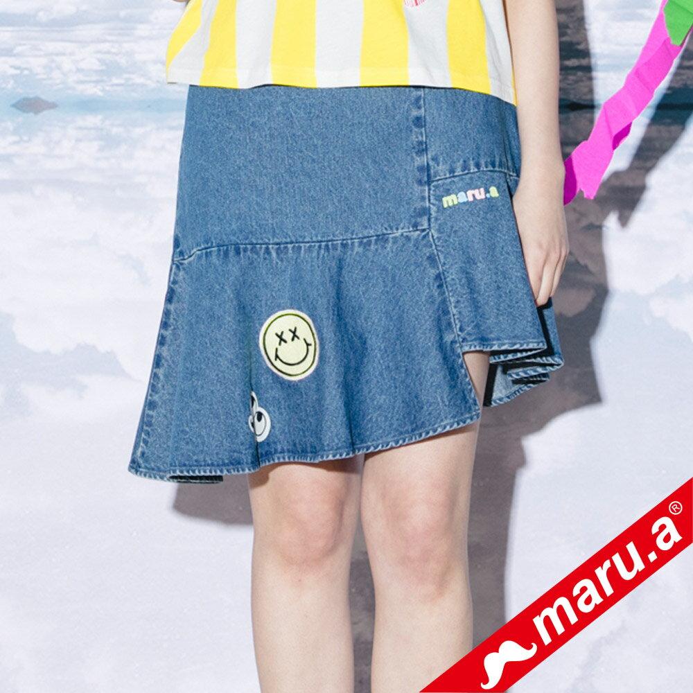 【maru.a】斜邊魚尾貼布繡牛仔裙(2色)8326113 3