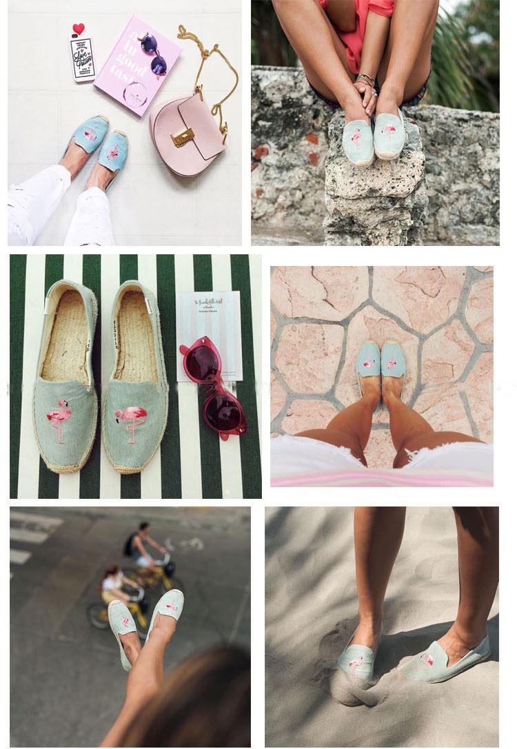 【Soludos】美國經典草編鞋-塗鴉系列草編鞋-青色火烈鳥 4