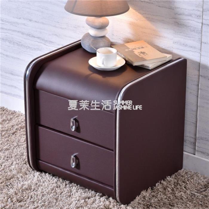 床頭櫃 皮質簡約現代帶鎖歐式軟包迷你臥室實木色儲物收納小櫃整裝 1