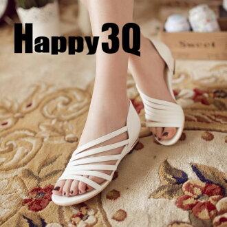 歐美簡約斜細帶羅馬平底小坡跟女鞋-白/黑/杏/綠33-43【AAA0063】