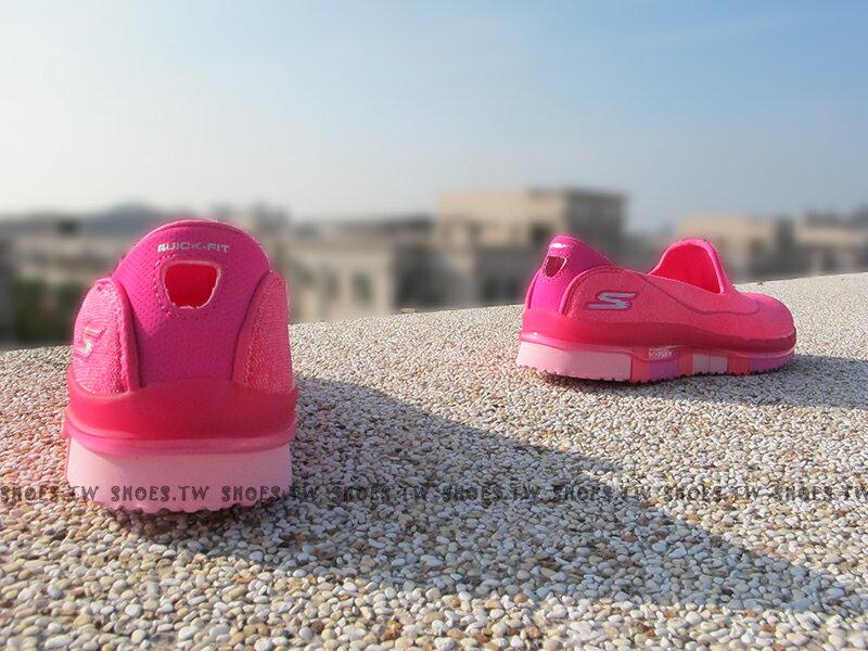 《5折出清》Shoestw【14010HPK】SKECHERS 健走鞋 GO FLEX 全新凹折底 桃紅 編織 瑜珈鞋墊【1月會員神券★消費滿1000結帳輸入序號New2018-100↘折100 | 消費滿1288結帳輸入序號Jan-Fashion↘折150】 2