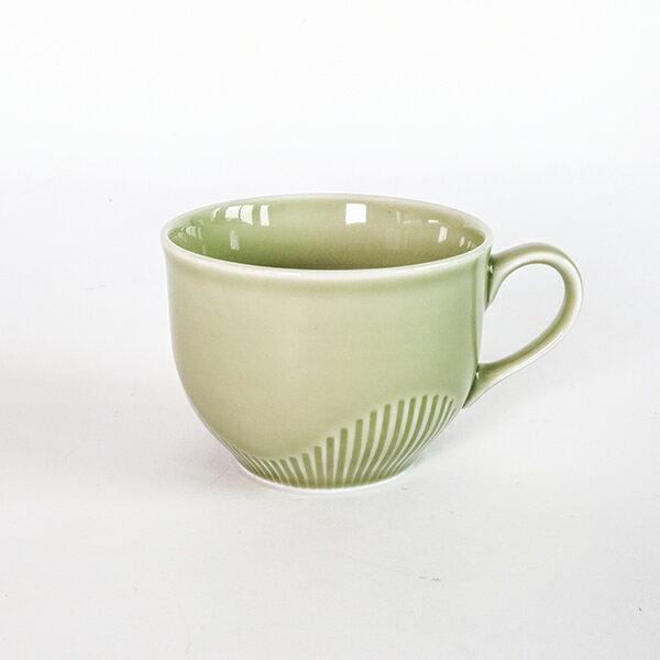 線紋咖啡杯盤組(抹茶綠)