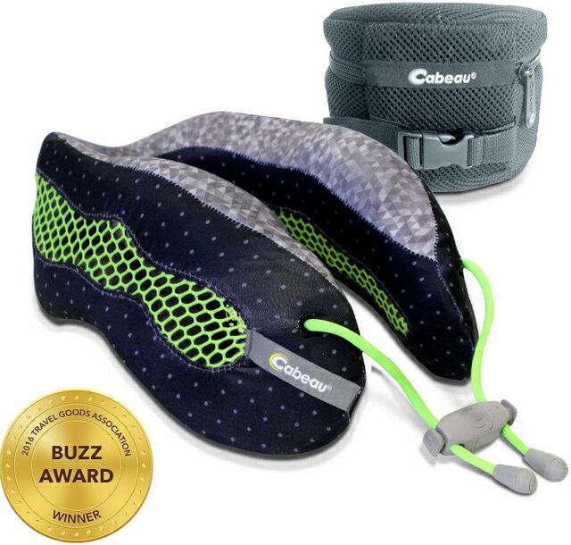 Cabeau 酷涼記憶棉頸枕 飛機靠枕/旅行枕/旅行頸枕 可拆洗/可壓縮收納 黑綠