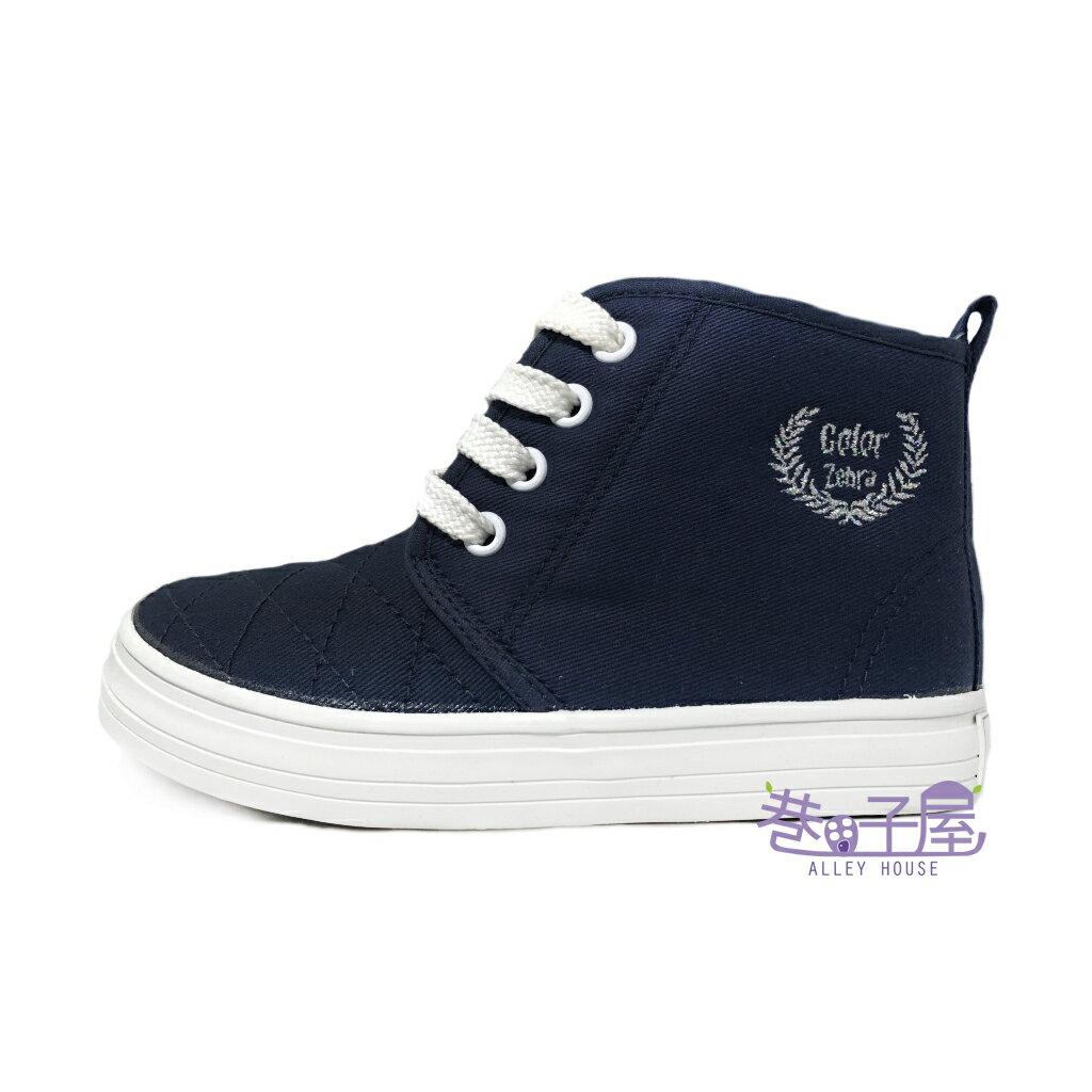 【巷子屋】COLOR ZEBRA彩色斑馬 童款側拉鍊半高统帆布鞋 [2123] 深藍 MIT台灣製造 超值價$198