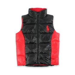 美國百分百【Ralph Lauren】羽絨 背心 RL 上衣 Polo 大馬 立領 拼色 黑紅 XS號 H772