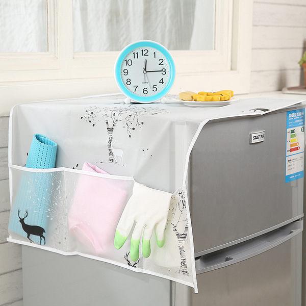 ♚MY COLOR♚透明印花冰箱蓋巾 分類 整理 收納 防水 擦拭 掛袋 收納袋 防塵 多功能 分格 【Q177】