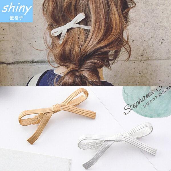 【DJB0201】shiny藍格子-甜美金色蝴蝶結髮夾