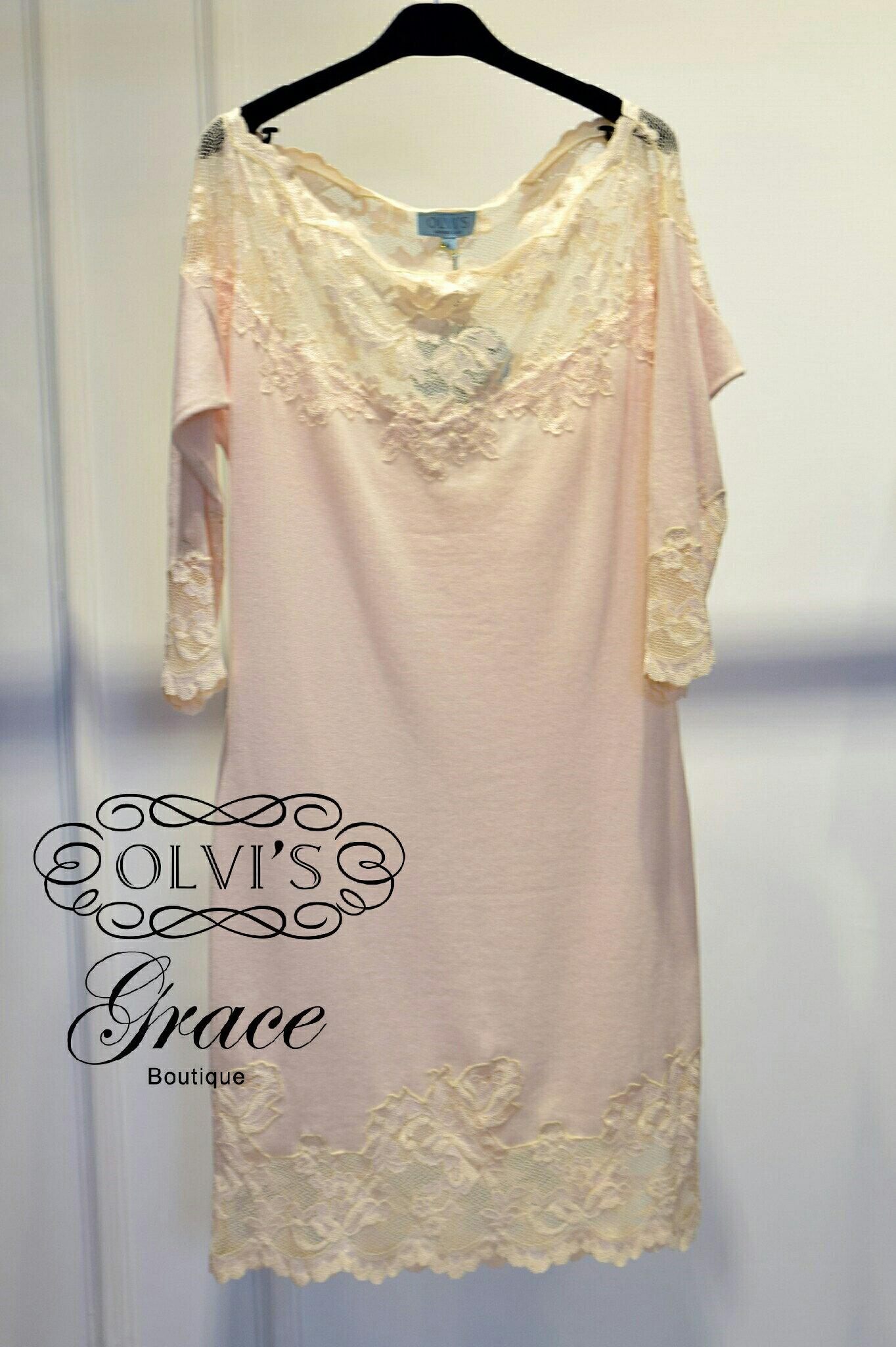 Grace Boutique OLVI`S 090 喀什米爾蕾絲一字領洋裝