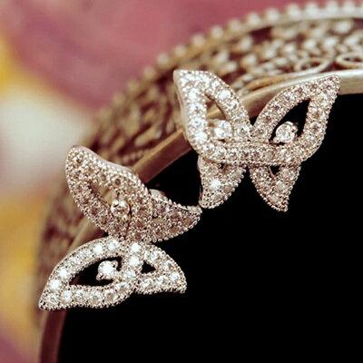 ~925純銀耳環鑲鑽耳飾~精緻立體鏤空蝴蝶情人節生日 女飾品73du35~ ~~米蘭 ~