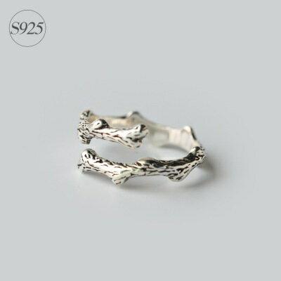 925純銀戒指開口戒~復古樹枝花紋 生日情人節 女飾品73dt352~ ~~米蘭 ~