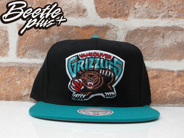 BEETLE MITCHELL&NESS NBA VANCOUVER GRIZZLIES LOGO SNAPBACK 溫哥華灰熊 黑綠 後扣棒球帽 0