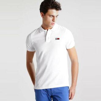 美國百分百【全新真品】Tommy Hilfiger Polo衫 TH 短袖 上衣 素面 網眼 大logo 白色 S號 I387