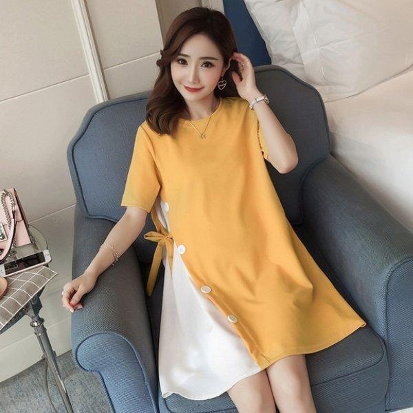 *漂亮小媽咪*韓國短袖鈕扣假兩件拼接孕婦裝長版衣孕婦洋裝D0211