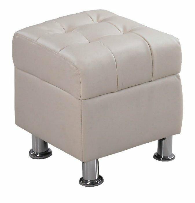 ~尚品 ~ JF~181~6 庫倫40米白皮沙發椅凳
